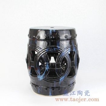 RZKL12-C 黑色镂空雕刻陶瓷凳门墩家居瓷景德镇陶瓷瓷器手工瓷器