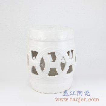 RZKL12-D 白色镂空雕刻陶瓷凳门墩家居瓷景德镇陶瓷瓷器手工瓷器