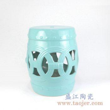 RZKL12-E  兰色镂空雕刻陶瓷凳门墩家居瓷景德镇陶瓷瓷器手工瓷器