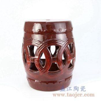RZKL12-F 深红色镂空雕刻陶瓷凳门墩家居瓷景德镇陶瓷瓷器手工瓷器