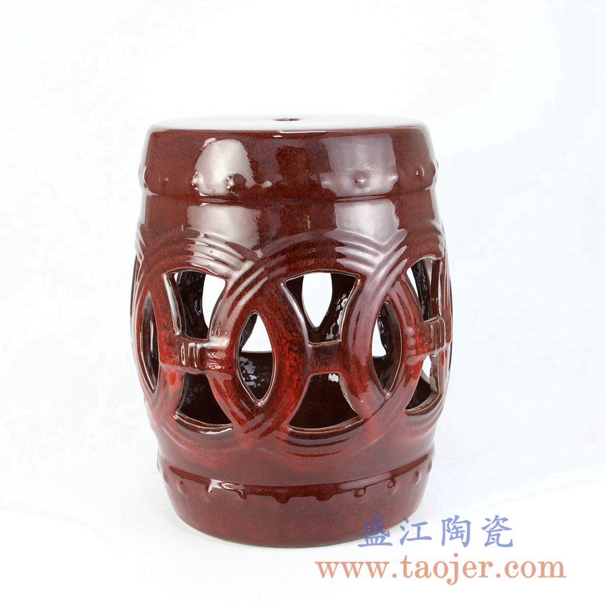 7064-RZKL12-F  深红色镂空雕刻陶瓷凳门墩家居瓷