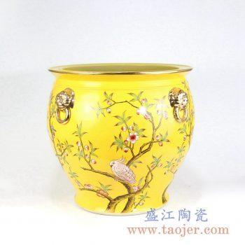 RZLS01-RZFH 手绘粉彩花鸟镀金狮扣描金口陶瓷缸小号景德镇陶瓷瓷器手工瓷器