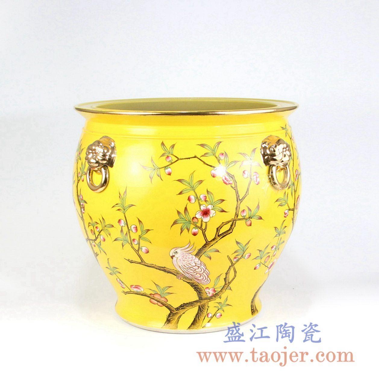 RZLS01-RZFH   手绘粉彩花鸟镀金狮扣描金口陶瓷缸小号