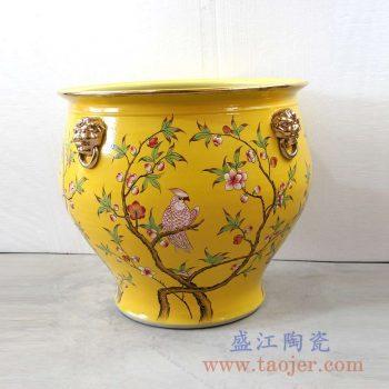 RZLS02-RZFH 手绘粉彩花鸟镀金狮扣描金口陶瓷缸大号景德镇陶瓷瓷器手工瓷器