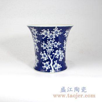 RZMA05 手绘青花蓝底梅花花瓶花插摆件品景德镇陶瓷瓷器手工瓷器