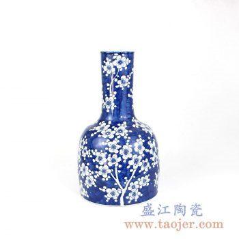RZMA08 手绘青花蓝底梅花花瓶花插摆件品景德镇陶瓷瓷器手工瓷器