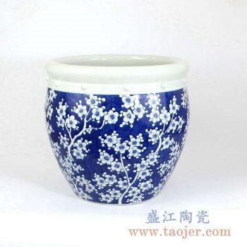 RZMA10 手绘青花蓝底梅花水缸米缸日用家居摆件品景德镇陶瓷瓷器手工瓷器