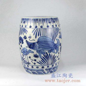 RZMA11 手绘青花荷花鱼陶瓷凳凉墩摆件景德镇陶瓷瓷器手工瓷器
