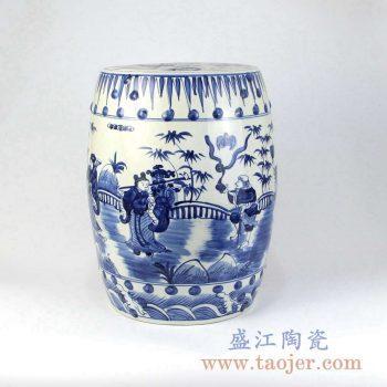 RZMA12 手绘青花人物陶瓷凳凉墩摆件景德镇陶瓷瓷器手工瓷器