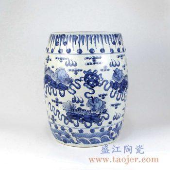 RZMA13 手绘青花麒麟陶瓷凳凉墩摆件景德镇陶瓷瓷器手工瓷器