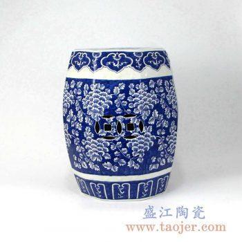 RZMA14   手绘青花花卉陶瓷凳凉墩摆件景德镇陶瓷瓷器手工瓷器