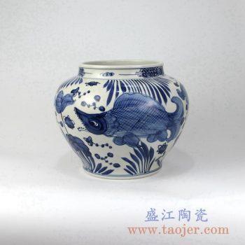 RZMA15 手绘青花鱼陶瓷罐花瓶花插景德镇陶瓷瓷器手工瓷器
