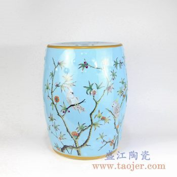 RZMC01-B 颜色釉兰色花鸟陶瓷凳凉墩花园凳