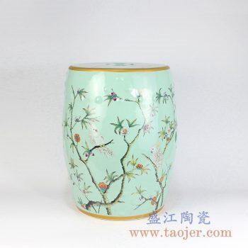 RZMC01-C  颜色釉绿色花鸟陶瓷凳凉墩花园凳景德镇陶瓷瓷器手工瓷器