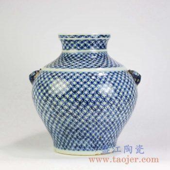 RZMD01 景德镇陶瓷 青花手绘 仿古网状陶瓷罐花瓶花插