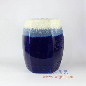 RYIR109-E 景德镇陶瓷 高温颜色釉 蓝白渐变六方瓷凳 凳子 凉墩