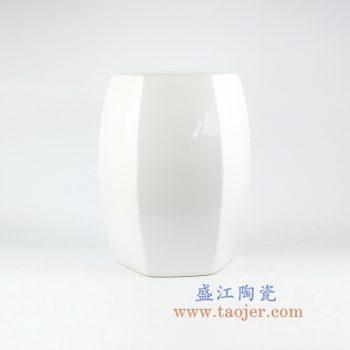 RYIR122-B_盛江陶瓷 高温颜色釉 纯白色六方六边形瓷凳 凳子 凉墩