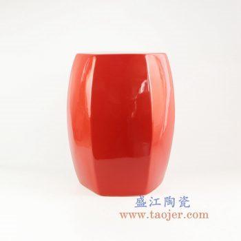RYIR122-C_景德镇陶瓷 高温颜色釉 中国红 红色六方六边形瓷凳 凳子 凉墩