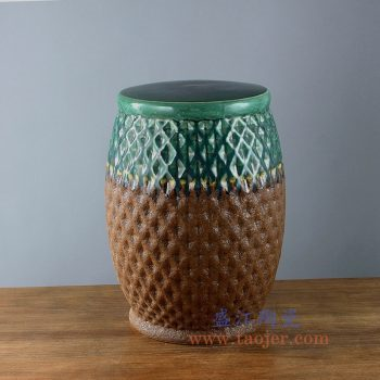 RYIR124_景德镇陶瓷 全手工 高温颜色釉 双色瓷凳 双色雕刻 凳子 凉墩