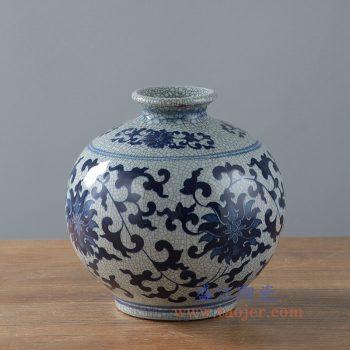 RYKZ15_景德镇陶瓷 手绘仿古青花缠枝莲裂纹开片哥窑圆形石榴球形花瓶