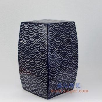 RYNQ204-B_景德镇陶瓷  高温颜色釉 手工雕刻 祭兰 雕刻海水纹 蓝色四方瓷凳 凳子 凉墩