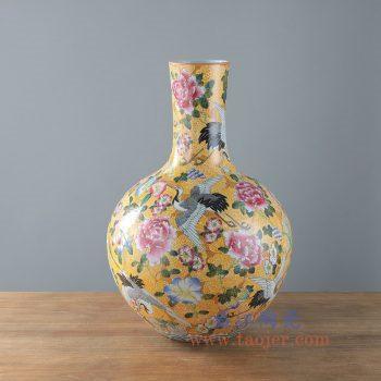 RYUY04-景德镇陶瓷 手绘粉彩黄底地皮 仙鹤牡丹 花鸟天球瓶 花插 花瓶
