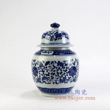 RZBV05_景德镇陶瓷 手工 青花缠枝莲将军罐 茶叶罐 盖罐 储物罐