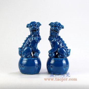 RZGB06_景德镇陶瓷 仿古  高温瓷 低温颜色釉 孔雀蓝 蓝色对狮 双狮狮子狗  带鼓 雕塑摆件品