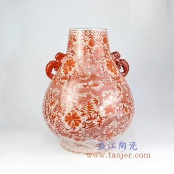 RZIS05_景德镇陶瓷 全手绘全手工福筒双耳 矾红粉彩 龙纹花插 花瓶