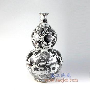RZIS06_景德镇陶瓷 手绘龙纹黑色墨彩葫芦瓶 花插 花瓶