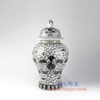 RZIS07_景德镇陶瓷 纯手绘缠枝莲花卉 黑色墨彩 釉上彩将军罐 盖罐 储物罐