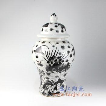 RZIS08_景德镇陶瓷 纯手绘 鱼草鱼藻图黑色墨彩 釉上彩将军罐 盖罐 储物罐