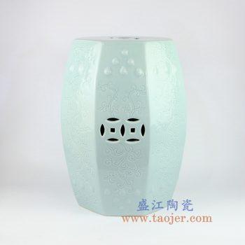 RZKL04-c_景德镇陶瓷 高温颜色釉 粉青全手工雕刻铜钱瓷凳 凳子 凉墩