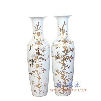 RZKN02_景德镇陶瓷 全手工 纯金全手绘 花卉 繁花似锦 落地大花瓶