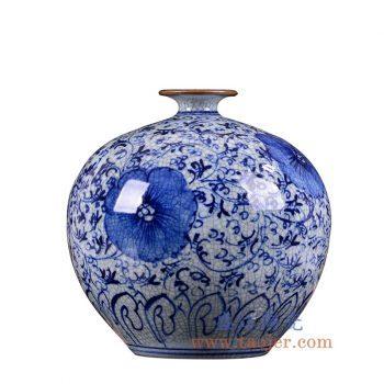 RZLW01-景德镇陶瓷 手绘青花 缠枝纹 裂纹开片仿古哥窑圆球石榴瓶 花插 花瓶
