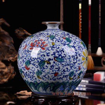 RZLW02-景德镇陶瓷 手绘青花五彩缠枝纹 裂纹开片仿古哥窑圆球石榴瓶 花插  花瓶