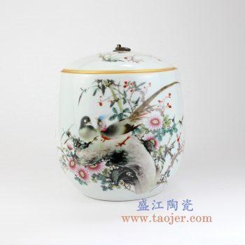RZLX05-景德镇陶瓷 釉上彩花开富贵花鸟圆肚铜勾普洱七子饼茶叶罐 储物罐