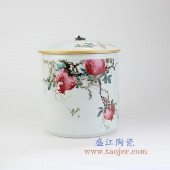 RZLX08-景德镇陶瓷 釉上彩榴开吉祥 石榴 普洱七子饼茶叶罐储物罐