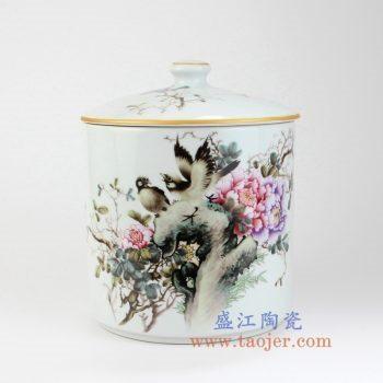 RZLX09-景德镇陶瓷 釉上彩花开富贵花鸟直筒普洱七子饼茶叶罐 储物罐
