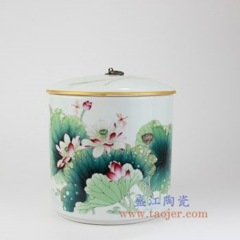 RZLX10-景德镇陶瓷 釉上彩荷香清韵《荷花》直筒铜钩普洱七子饼茶叶罐 储物罐