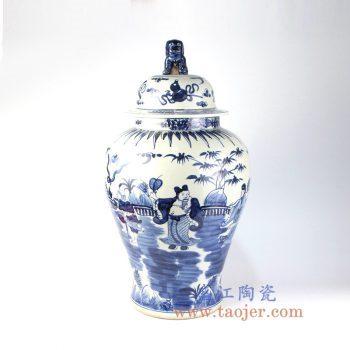 RZMA17 景德镇陶瓷 手绘青花狮子头八仙过海 人物 八宝纹将军罐 储物罐