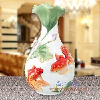 RZMF01-景德镇陶瓷 珐琅瓷 3D荷花鱼荷塘月色 花口花插花瓶 欧式摆件品