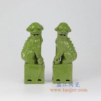 RZMG02_景德镇陶瓷 高温瓷低温颜色釉 鱼籽黄开片裂纹 对狮 双狮 狮子狗 雕塑陶瓷摆件品 小号