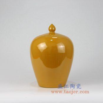 7154-RZMG05_景德镇陶瓷 高温瓷低温颜色釉 鸡黄 黄色 冬瓜罐 盖罐 储物罐
