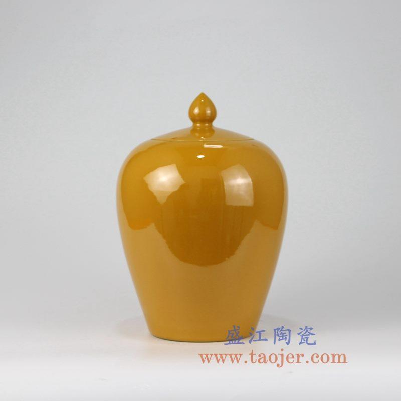 盛江陶瓷 高温瓷低温颜色釉 鸡黄 黄色 冬瓜罐 盖罐 储物罐