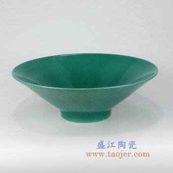 RZMG12_景德镇陶瓷 高温瓷低温颜色釉 鱼籽 绿色陶瓷斗笠大碗