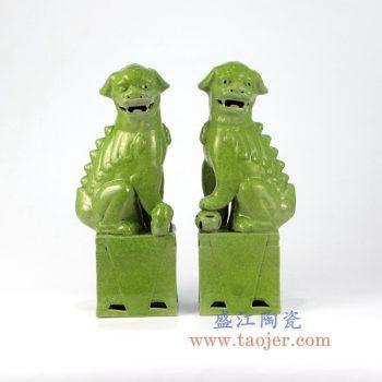 RZMG13_景德镇陶瓷 高温瓷低温颜色釉 鱼籽黄 对狮 双狮 狮子狗 雕塑陶瓷摆件品 大号