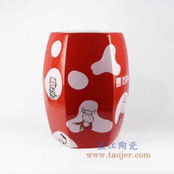 shengjiangdingzhidingzuo-RYIR122-A_定制 高温颜色釉 红色底色 麦蔻奶牛彩花 六方 六边形瓷凳 凳子 凉墩