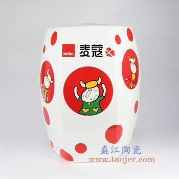 shengjiangdingzhidingzuo-RYIR122-f 定制 六方六边形 高温颜色釉 白色 麦蔻奶牛彩花 瓷凳 凳子 凉墩