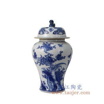 RYCI55_景德镇陶瓷 纯手绘仿古青花狮子头花鸟将军罐 储物罐